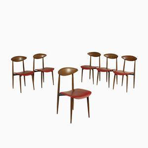Vintage Teak, Metal, Foam, and Leatherette Chairs, Set of 6