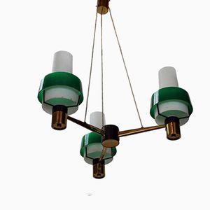 Deckenlampe mit Drei Grünen Leuchten, 1950er