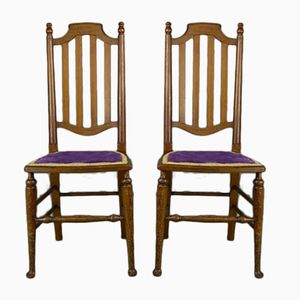 Vintage Pine High Back Dining Chairs, Set of 2