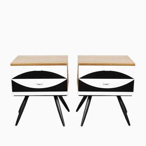 Modern German Bedside Tables with Pattern by VEB Deutsche Werkstätten Hellerau, 1970s, Set of 2