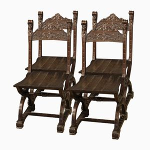 French Oak Chairs, 1950, Set of 4