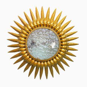 Mid-Century Spanish Gold Doré Sunburst Sconce, 1950s