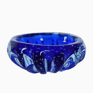 Blaue Murano Glasschale mit Internen Blasen von Murano, 1970er