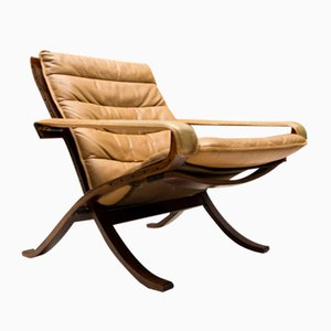 Vintage Leather Folding Chair by Ingmar Relling for Westnofa, 1960s
