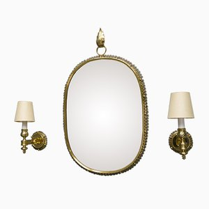 Mid-Century Brass Mirror & Wall Lamps by Josef Frank for Svenskt Tenn