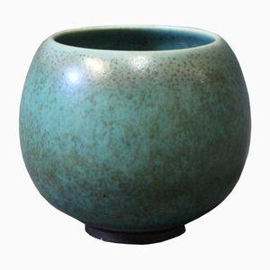 Kleine Türkise Glasierte Vase von Saxbo, 1940er