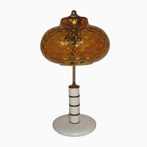 Lampada da tavolo vintage in vetro pressato color ambra, anni '70