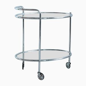 Vintage Chrome Bar Cart with Mirrored Shelves