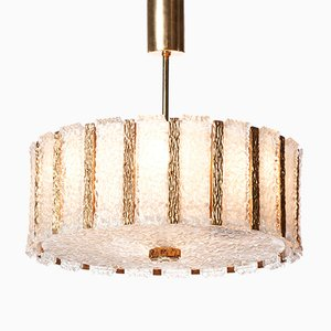 Mid-Century Nine-Light Gilt Brass & Frosted Glass Chandelier by J.T. Kalmar