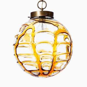 Gelbe Glas Hängelampe Unikat, 1960er