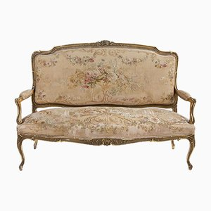 Antique Floral Salon Settee