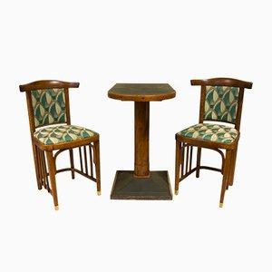 Antique Viennese Secession Lounge Cafe Set, 1910s, Set of 3