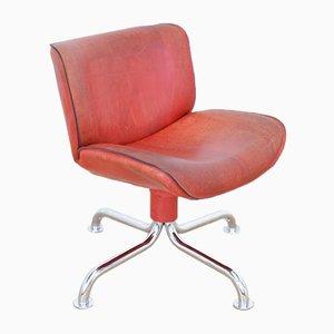 Roter Schweizer Vintage Lederstuhl von Atelier L