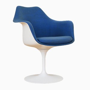 Mid-Century Blue and White Tulip Armchair by Eero Saarinen for Knoll, 1950s