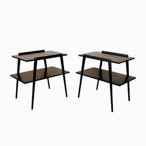 Mid-Century Ebonized Mahogany End Tables, 1950s, Set of 2