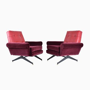 Mid-Century Italian Red Velvet and Leather Armchairs, 1950s, Set of 2