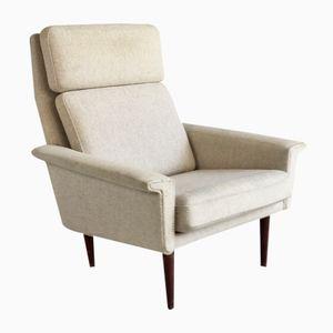Danish High Back Oatmeal Wool Lounge Chair, 1970s