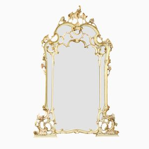 Venezianischer Lackierter Vergoldeter Vintage Spiegel mit Holzrahmen, 1950er