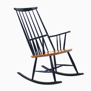 Black Rocking Chair with Ash Seat, 1960s