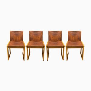 Leather Chairs by Afra and Tobia Scarpa for Molteni, 1970s, Set of 4