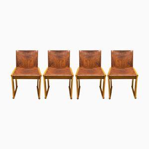 Stühle aus Leder von Afra und Tobia Scarpa für Molteni, 1970er, 4er Set