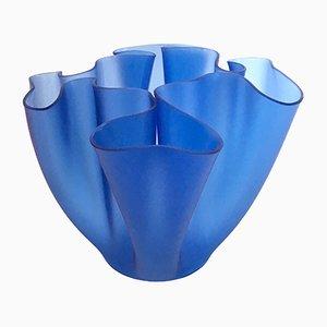 Blaue Vintage Cartoccio Vase von Pietro Chiesa für Fontana Arte