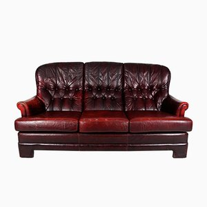 Vintage Oxblood Chesterfield Three-Seater Sofa