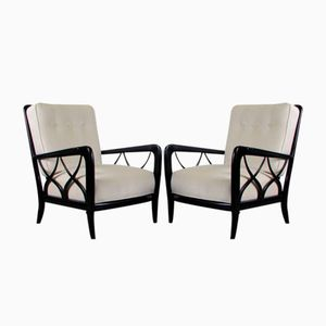 Italian Lacquered Lounge Chairs, 1950s, Set of 2