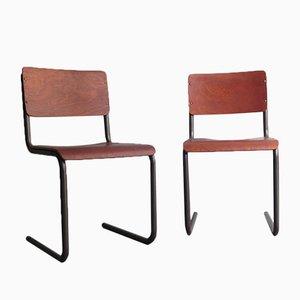 Chaises de Salon Vintage en Contreplaqué et Structures en Métal Tubulair, Set de 2