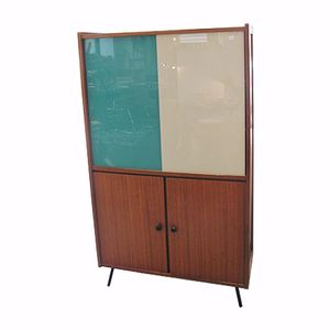 Vintage Cupboard with Bicolored Glass Doors, 1960s