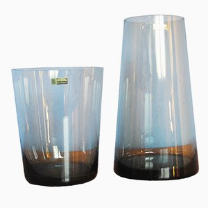 Mid-Century Tinted Glass Trio Vases by Wilhelm Wagenfeld for WMF, 1958, Set of 2
