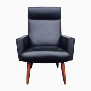 Dänischer Sessel mit Hoher Rückenlehne aus Schwarzem Kunstleder, 1960er