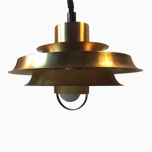 Mid-Century Tiered Solid Brass Pendant from Vitrika, 1960s