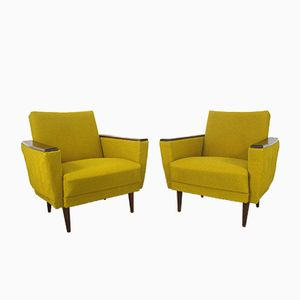 Vintage Easychairs in Wood and Yellow Fabric, Set of 2