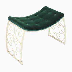 Art Deco Wrought Iron Stool with Plush Seat