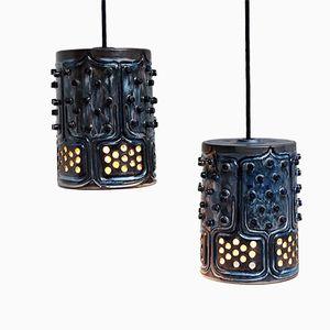 Lampes Bleues en Potterie Vernie par Jette Helleroe pour Axella, 1970s, Set de 2
