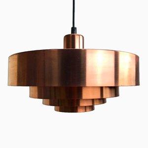 Dänische Mid-Century Roulet Kupfer Deckenlampe von Jo Hammerborg, 1963