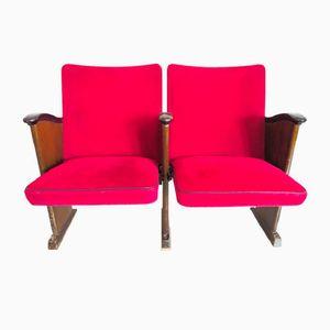 Rote Vintage Samt Kinobank von Poul Henningsen