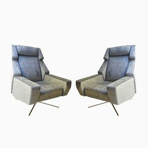 Italian Velvet & Brass Armchairs, 1970s, Set of 2