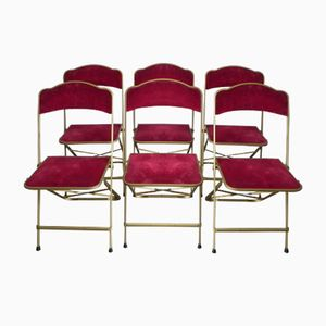 Vintage Steel Folding Chairs, Set of 6
