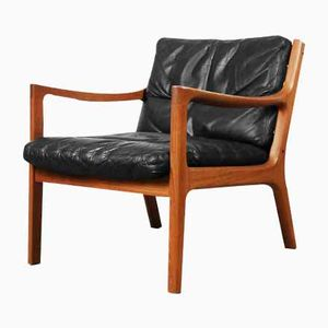 Danish Leather Senator Chair by Ole Wanscher for Cado, 1950s