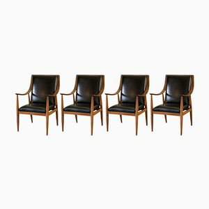 Armchairs by Silvio Cavatorta for SC Roma, 1950s, Set of 4
