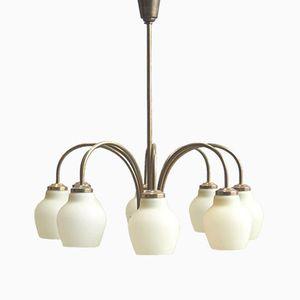 Eight-Armed Brass & Opaline Glass Chandelier from Fog & Morup, 1960s