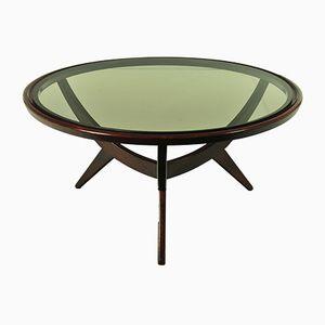 Teak & Smoked Glass Coffee Table, 1960s