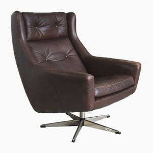 Danish Mid-Century Brown Leather Swivel Chair, 1970s