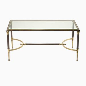Vintage Coffee Table with Glass from Maison Charles