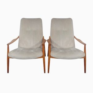 Mid-Century Cherry Wood Armchairs by Hartmut Lohmeyer for Wilkhahn, 1960s, Set of 2