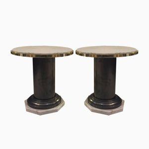 Tables Basses Vintage en Acier et en Marbre, 1970s, Set de 2