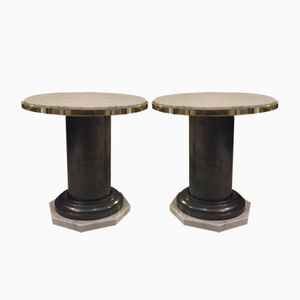 Vintage Iron and Marble Coffee Tables, 1970s, Set of 2
