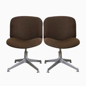 Mid-Century Rosewood and Brown Fabric Desk Chairs by Ico Parisi for MIM, 1958, Set of 2